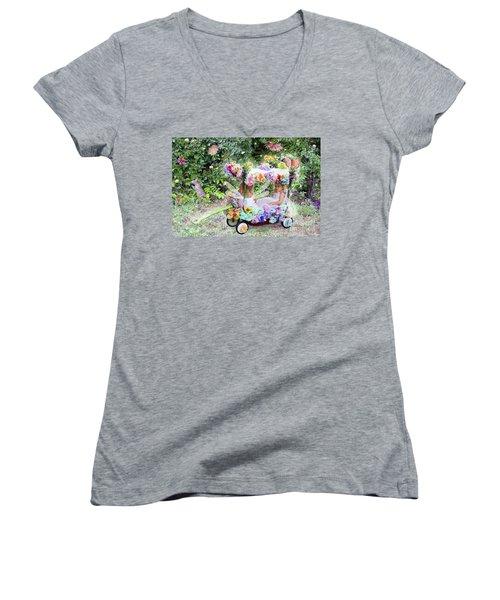 Flower Fairies In A Flower Mobile Women's V-Neck T-Shirt