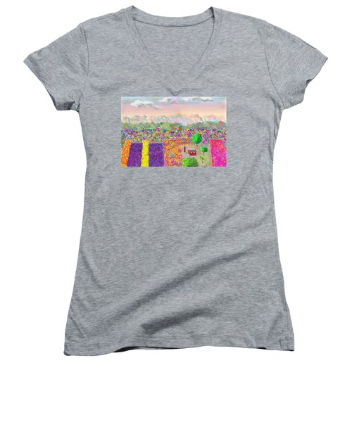 Flower Farm Women's V-Neck (Athletic Fit)