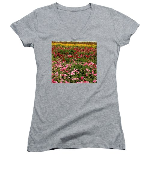 Women's V-Neck T-Shirt (Junior Cut) featuring the photograph Flower Fields by Christopher Woods
