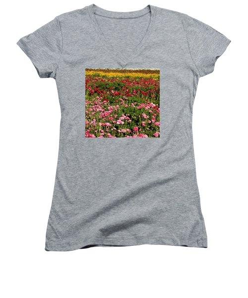 Flower Fields Women's V-Neck (Athletic Fit)