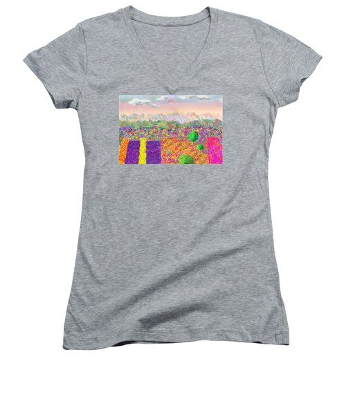 Flower Fields Women's V-Neck (Athletic Fit)