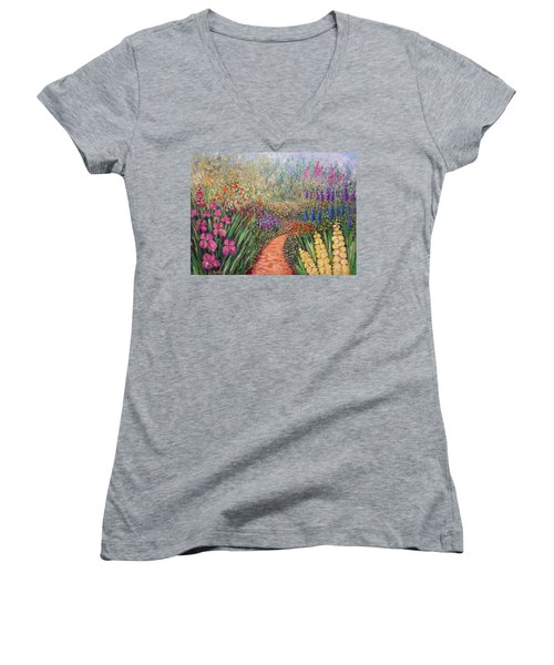 Flower Gar02den  Women's V-Neck (Athletic Fit)
