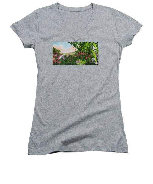Women's V-Neck T-Shirt (Junior Cut) featuring the painting Flower Garden Vii by Michael Frank