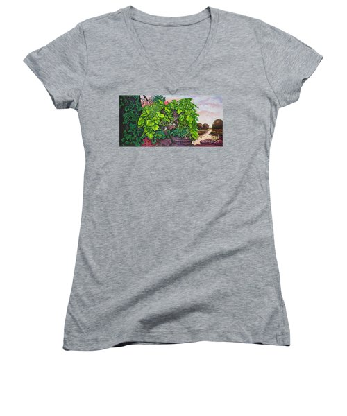 Women's V-Neck T-Shirt (Junior Cut) featuring the painting Flower Garden Viii by Michael Frank