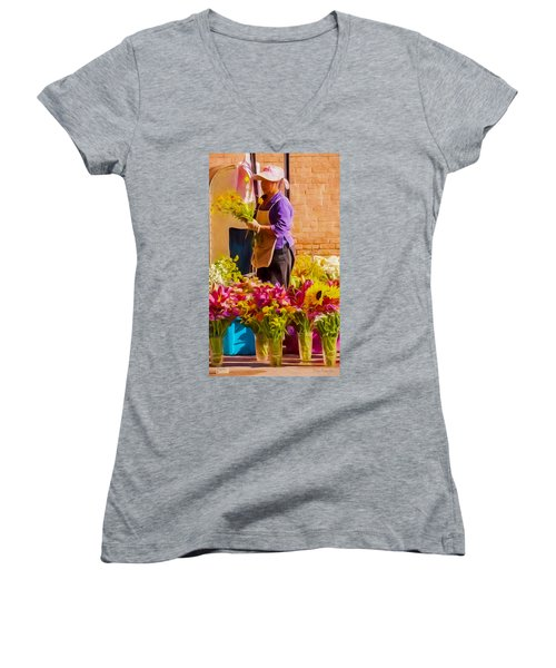 Women's V-Neck T-Shirt (Junior Cut) featuring the photograph Flower Lady by Trey Foerster