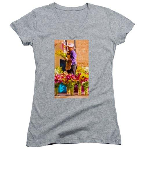 Flower Lady Women's V-Neck T-Shirt