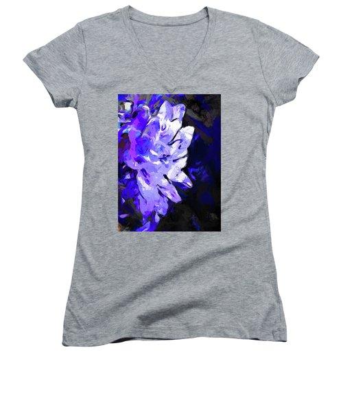 Flower Lavender Lilac Blue Women's V-Neck (Athletic Fit)