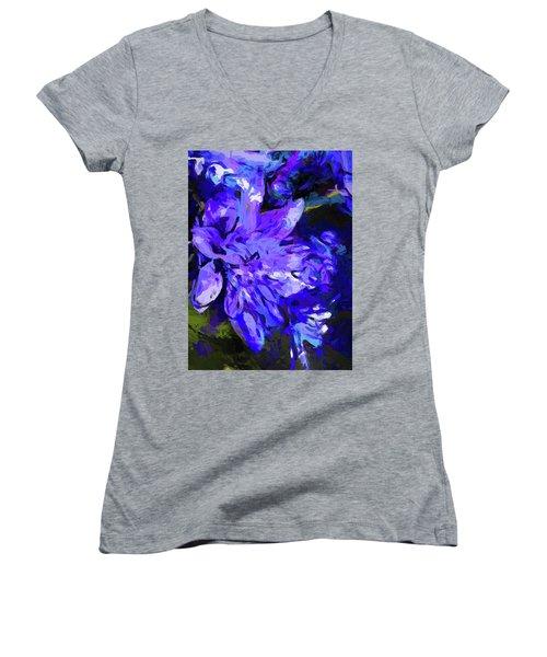 Flower Lavender Lilac Cobalt Blue Women's V-Neck (Athletic Fit)