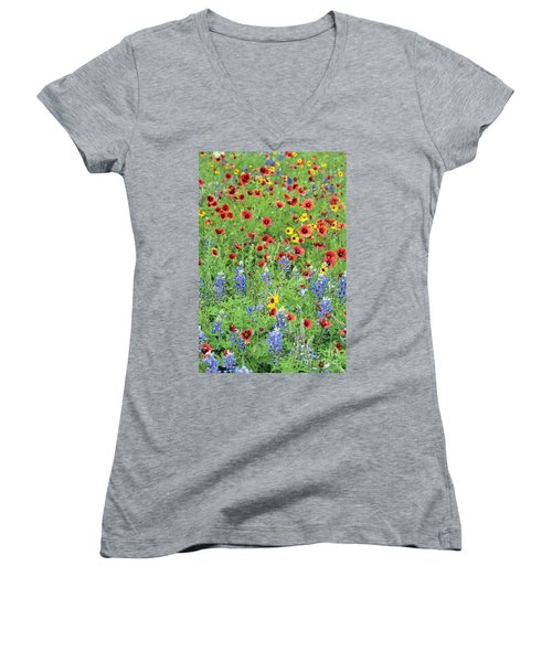 Flower Quilt Women's V-Neck (Athletic Fit)