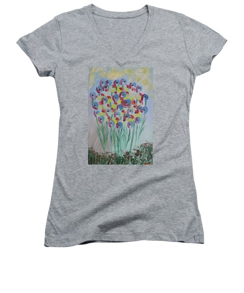 Flower Twists Women's V-Neck T-Shirt (Junior Cut) by Barbara Yearty