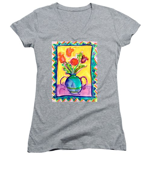 Flower Vase Women's V-Neck