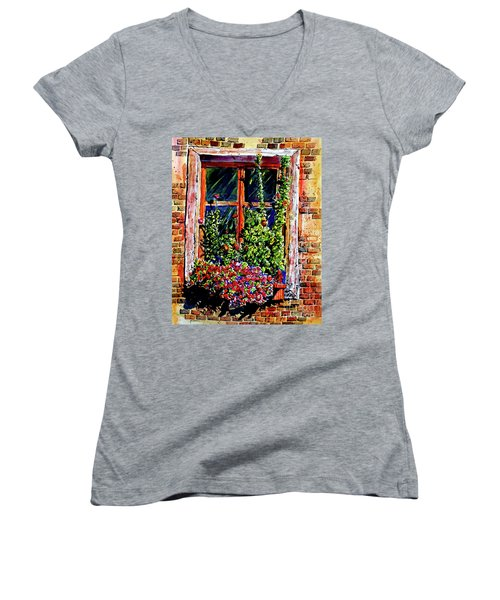 Women's V-Neck T-Shirt (Junior Cut) featuring the painting Flower Window by Terry Banderas