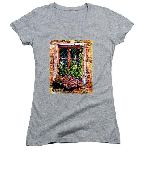 Flower Window Women's V-Neck (Athletic Fit)