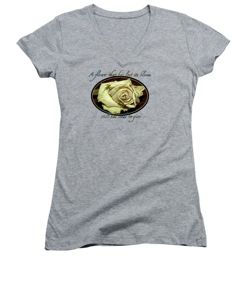 Women's V-Neck T-Shirt (Junior Cut) featuring the photograph Flower Wisdom by Phyllis Denton