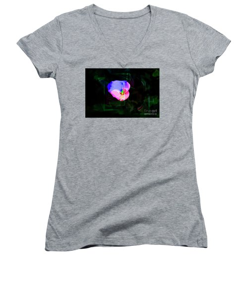 Women's V-Neck T-Shirt (Junior Cut) featuring the photograph Flower Wower by Al Bourassa