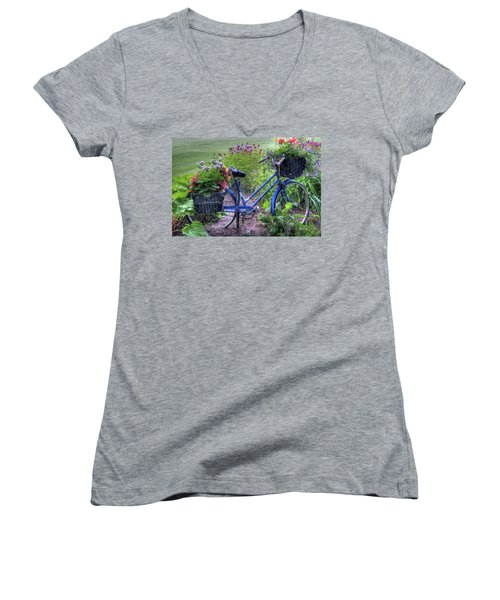 Flowered Bicycle Women's V-Neck