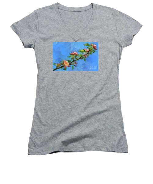 Flowering Apple Branch Women's V-Neck T-Shirt (Junior Cut) by Dragica Micki Fortuna