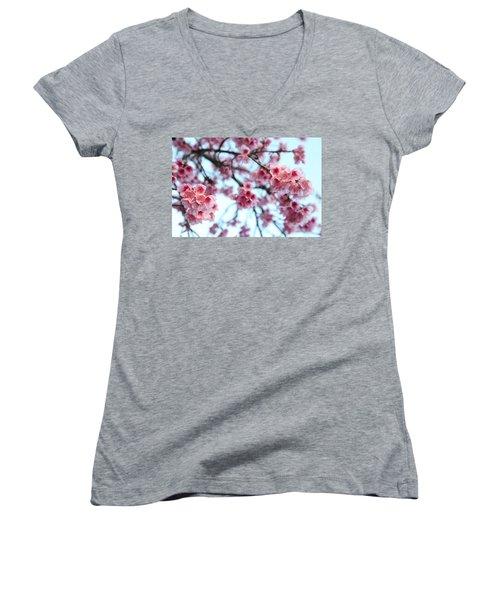 flowering of the almond tree, Jerusalem Women's V-Neck T-Shirt (Junior Cut) by Yoel Koskas