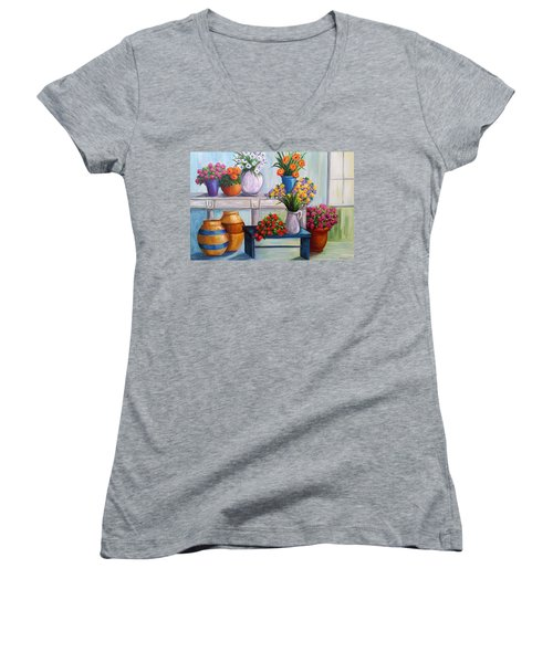 Flowerpots Women's V-Neck T-Shirt