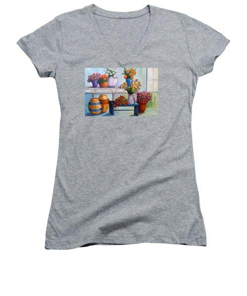 Flowerpots Women's V-Neck T-Shirt