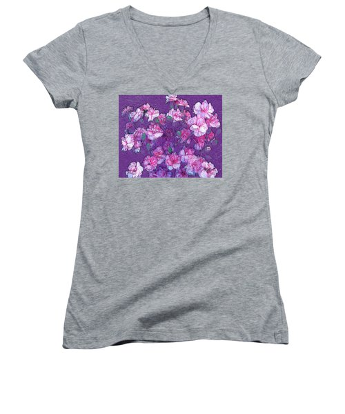 Flowers #063 Women's V-Neck T-Shirt (Junior Cut) by Barbara Tristan