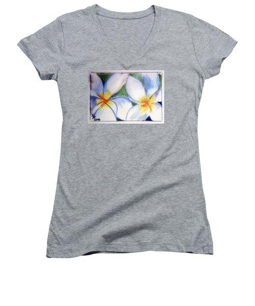 Flowers 3452 Women's V-Neck T-Shirt (Junior Cut) by Loretta Nash