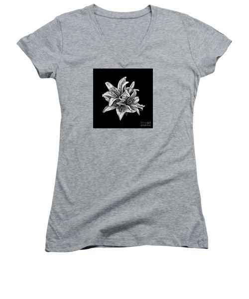Flowers 8449 Women's V-Neck T-Shirt (Junior Cut) by Walt Foegelle