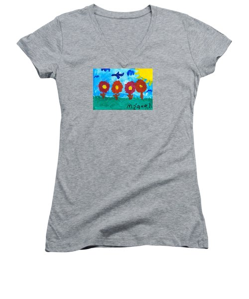 Women's V-Neck T-Shirt (Junior Cut) featuring the painting Flowers And Airplane by Artists With Autism Inc