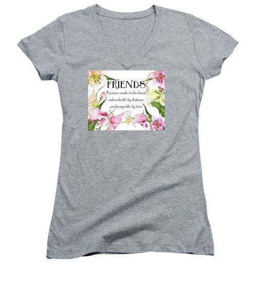 Flowers And Birds Women's V-Neck T-Shirt