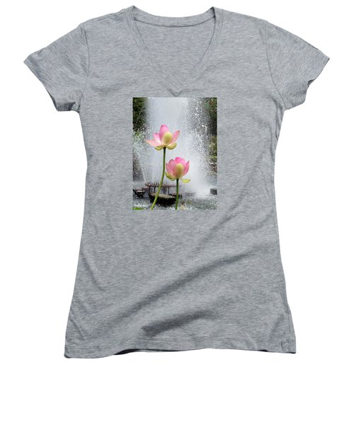 Flowers And Fountains Women's V-Neck T-Shirt (Junior Cut) by Helen Haw
