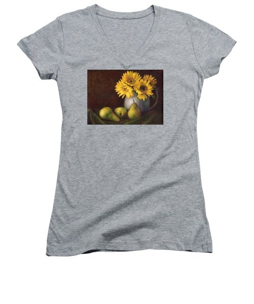 Flowers And Fruit Women's V-Neck T-Shirt (Junior Cut) by Janet King