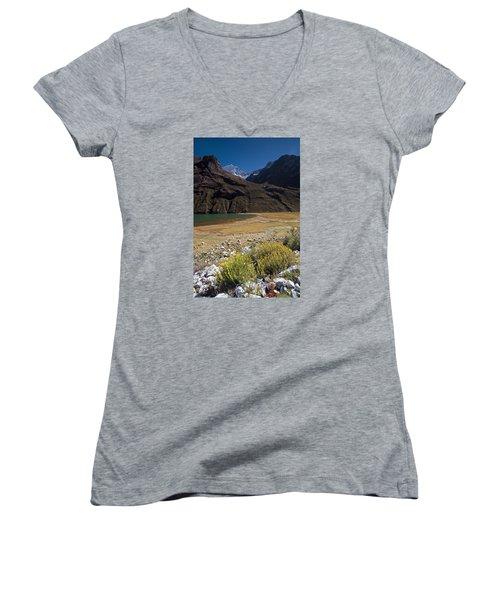 Flowers And Mountain Lake In Santa Cruz Valley Women's V-Neck T-Shirt
