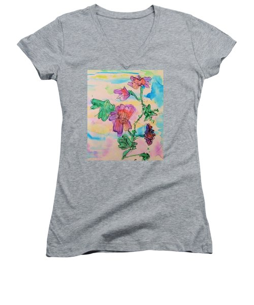 Flowers Are Blooming  Women's V-Neck T-Shirt (Junior Cut)
