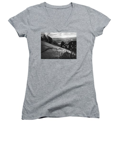 Flowers At Table Rock Overlook In Black And White Three Women's V-Neck T-Shirt (Junior Cut) by Kelly Hazel