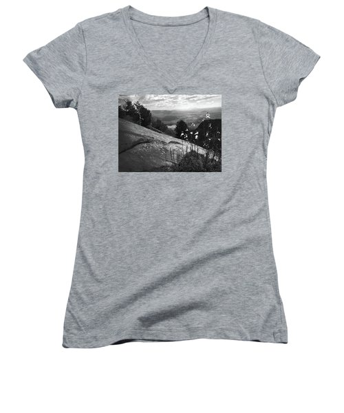 Flowers At Table Rock Overlook In Black And White Three Women's V-Neck