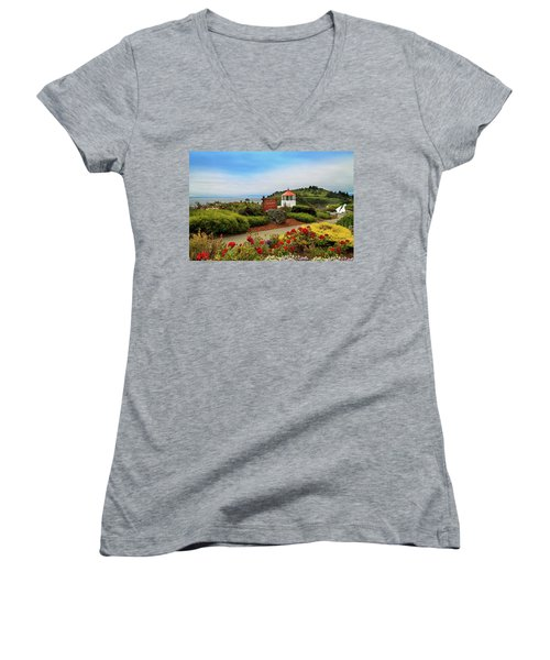 Women's V-Neck T-Shirt featuring the photograph Flowers At The Trinidad Lighthouse by James Eddy
