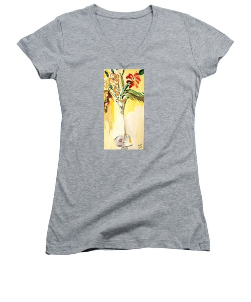 Flowers Flowing In Yellow Women's V-Neck T-Shirt (Junior Cut) by Amara Dacer