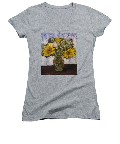 Women's V-Neck T-Shirt (Junior Cut) featuring the painting Flowers For Janice by Ron Richard Baviello