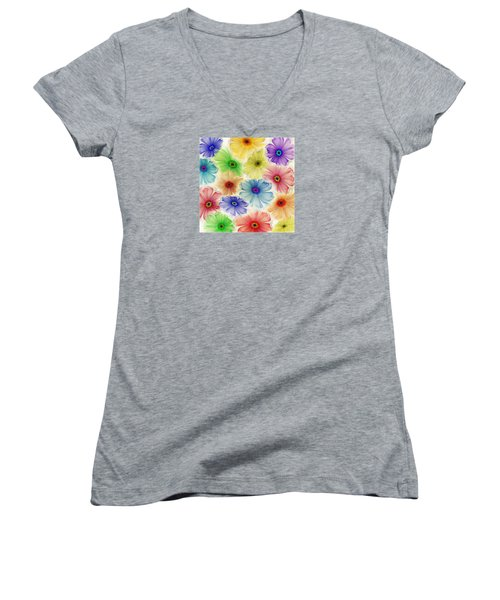 Women's V-Neck T-Shirt (Junior Cut) featuring the digital art Flowers For Eternity by Klara Acel