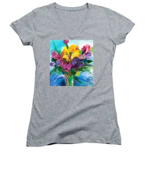Women's V-Neck T-Shirt (Junior Cut) featuring the painting Flowers For My Jesus by Karen Showell