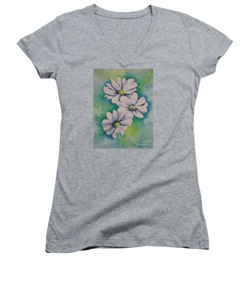 Women's V-Neck T-Shirt (Junior Cut) featuring the painting Flowers For You by Chrisann Ellis