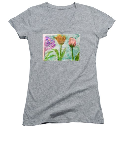 Tulips A'bloom Women's V-Neck T-Shirt (Junior Cut)