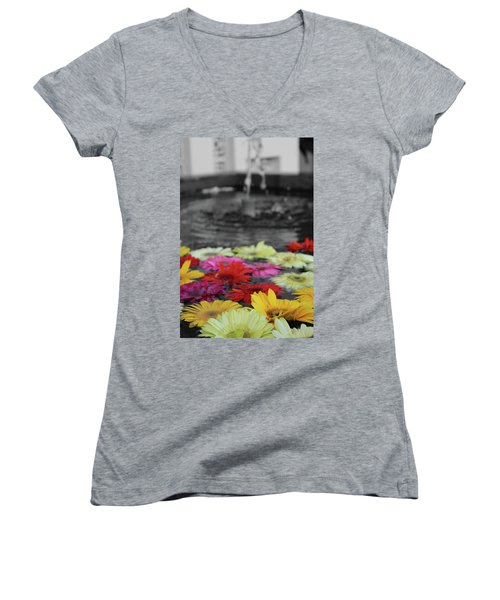 Flowers In Fountain Women's V-Neck (Athletic Fit)