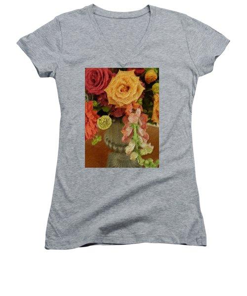 Flowers In Vase Women's V-Neck