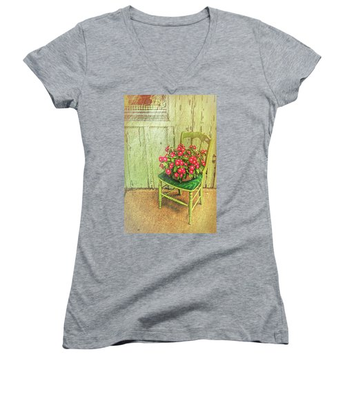 Women's V-Neck T-Shirt featuring the photograph Flowers On Green Chair by Lewis Mann