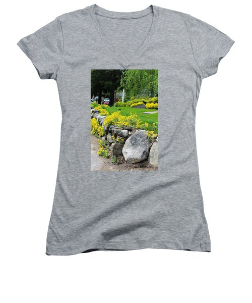 Flowers On The Wall Women's V-Neck (Athletic Fit)