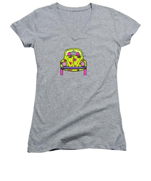 Flowers On Wheels Women's V-Neck T-Shirt