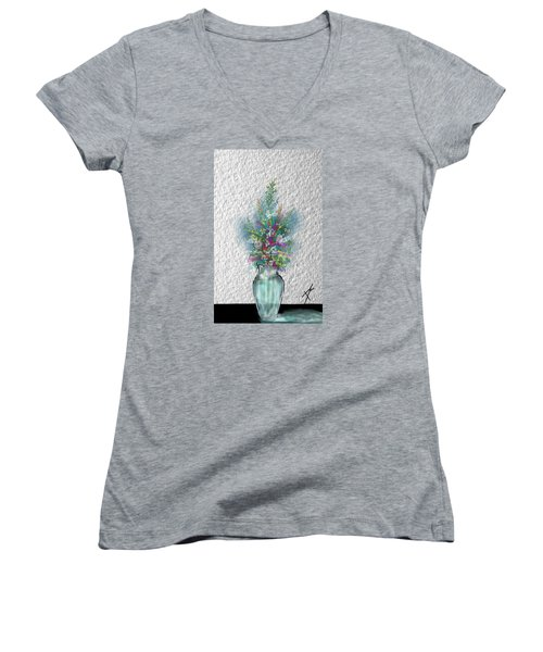 Women's V-Neck T-Shirt (Junior Cut) featuring the digital art Flowers Study Two by Darren Cannell