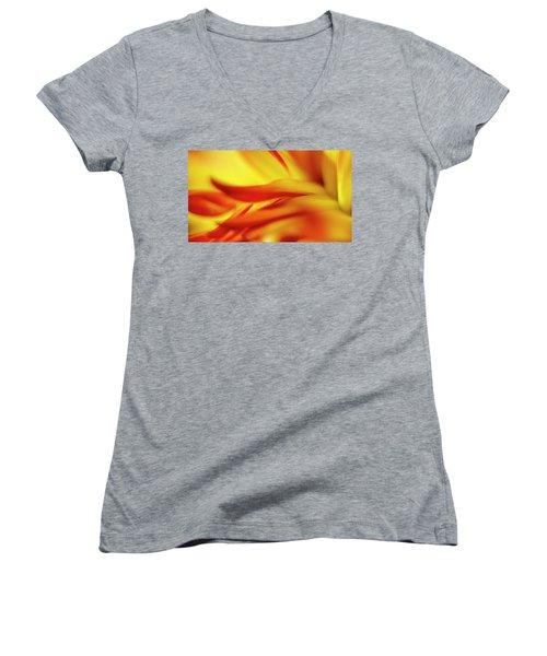 Flowing Floral Fire Women's V-Neck T-Shirt (Junior Cut) by Tony Locke
