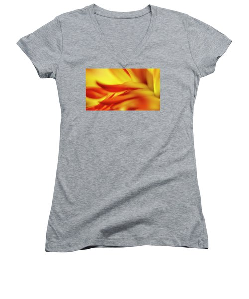 Flowing Floral Fire Women's V-Neck